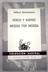 Venus y Adonis Medida por medida / William Shakespeare